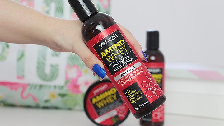 shampoo yenzah amino whey, livre de sulfatos, petrolatos e parabenos.