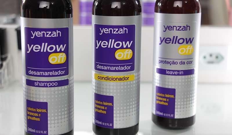 shampoo desamarelador e condiconador Yenzah Yellow Off + leave-in para proteção da cor