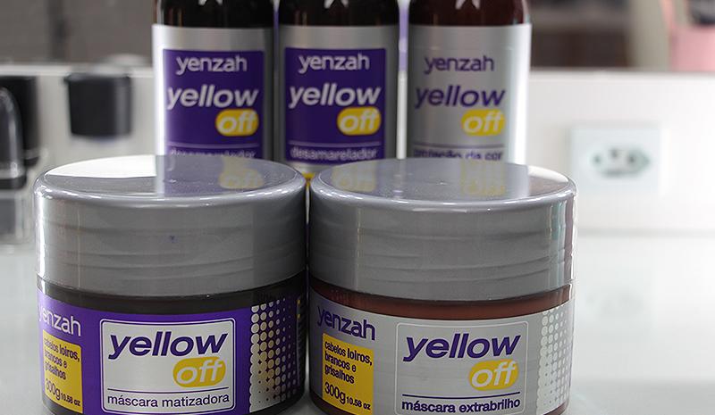 Família Yenzah Yellow Off: shampoo desamarelador, condicionador, leave-in, máscara matizadora e máscara extra brilho